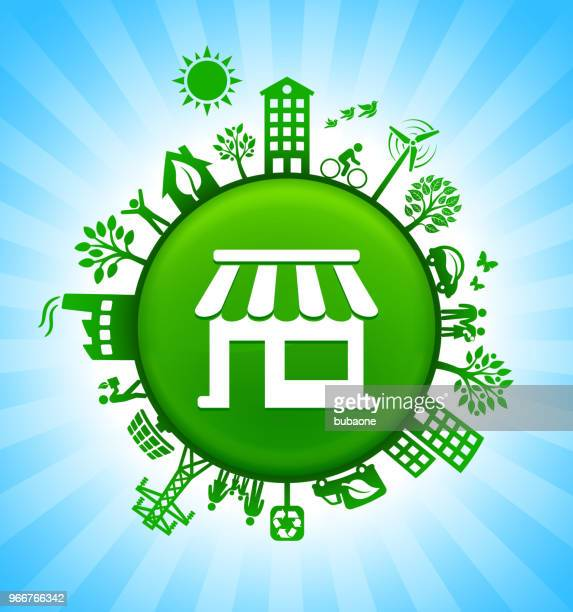 Store Environment Green Button Background on Blue Sky