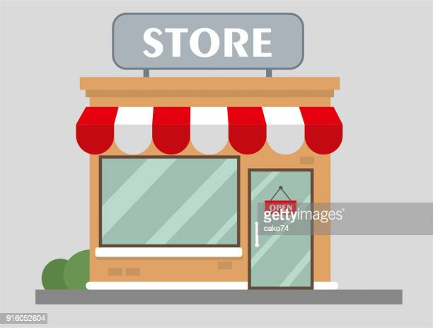 store front view flat design - shop stock illustrations