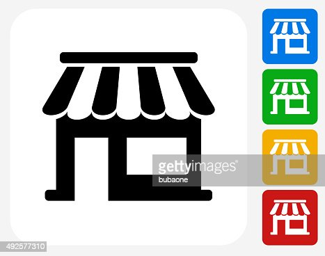 Store Icon Flat Graphic Design Vector Art | Getty Images