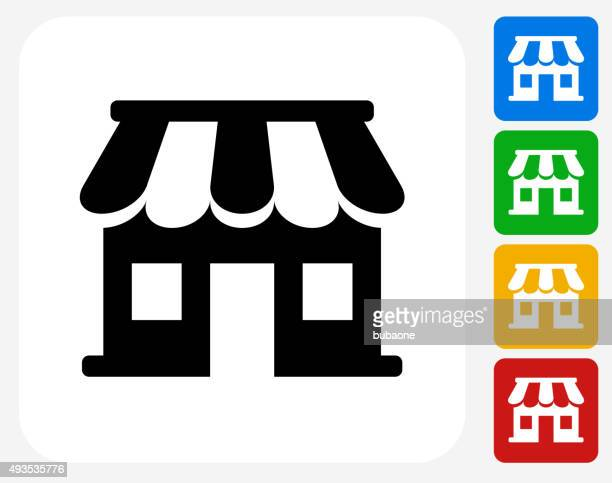 store icon flat graphic design - awning stock illustrations, clip art, cartoons, & icons
