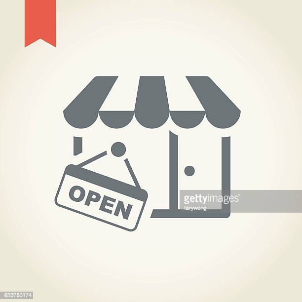 store icon - open sign stock illustrations, clip art, cartoons, & icons