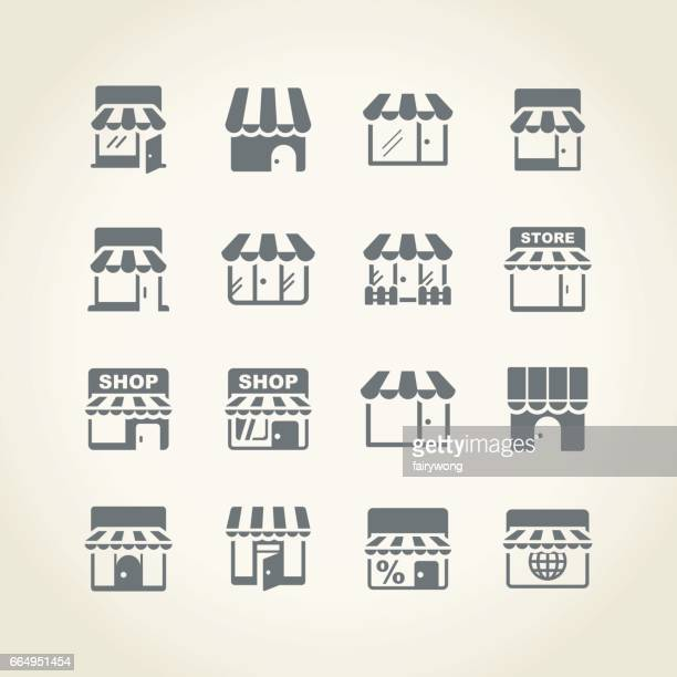 store icon - awning stock illustrations, clip art, cartoons, & icons