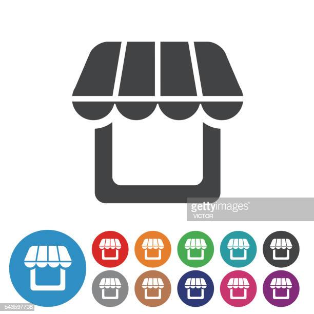 store icons - graphic icon series - awning stock illustrations, clip art, cartoons, & icons