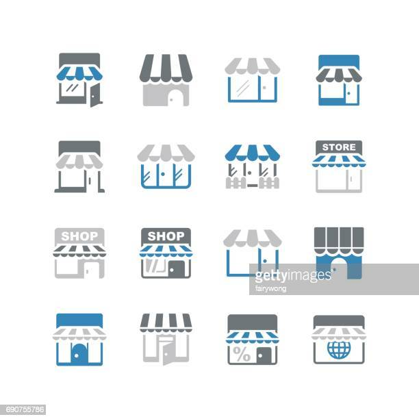 store icons - awning stock illustrations, clip art, cartoons, & icons