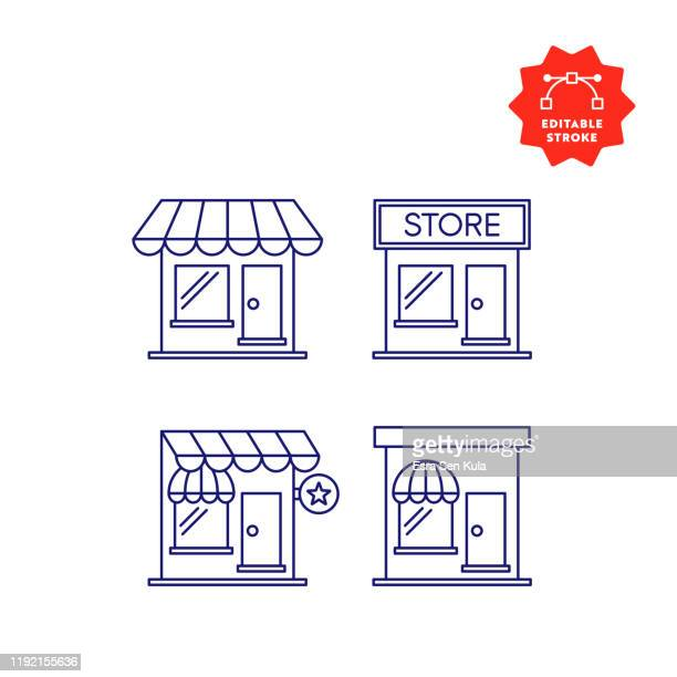 store line icons with editable stroke and pixel perfect. - store stock illustrations