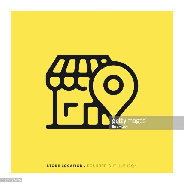 store location rounded line icon - store stock illustrations