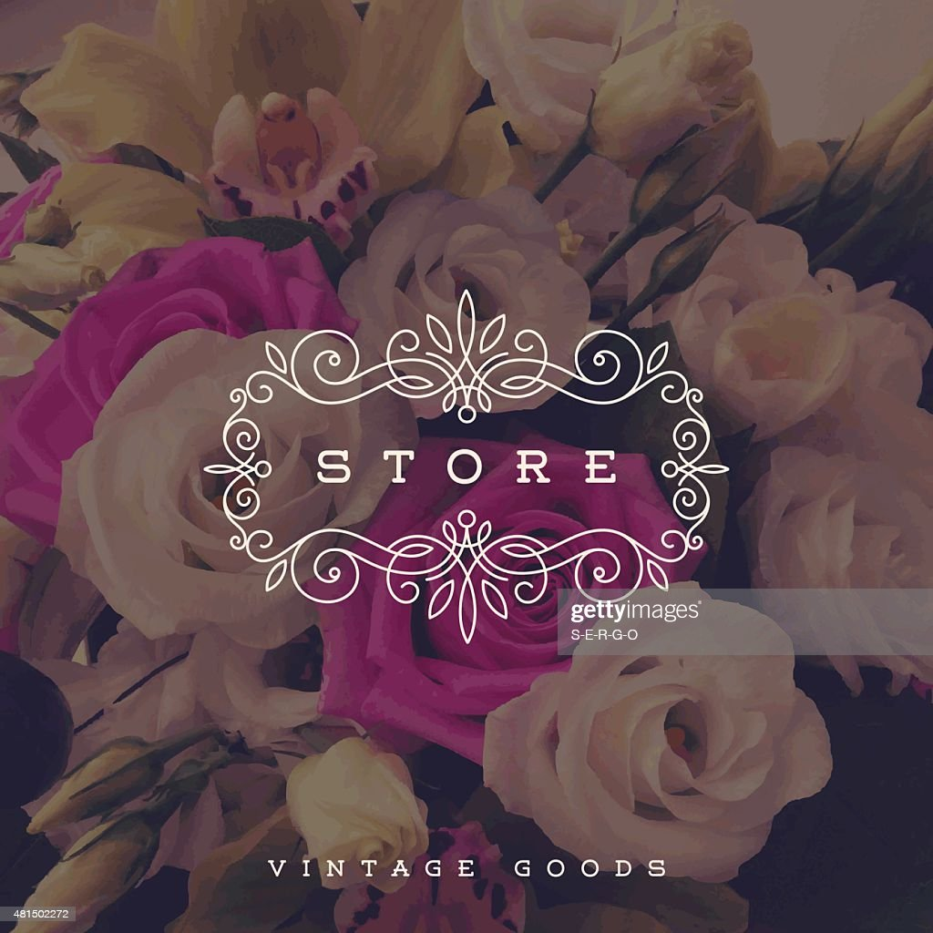 Store logo template with flourishes frame on a flowers background