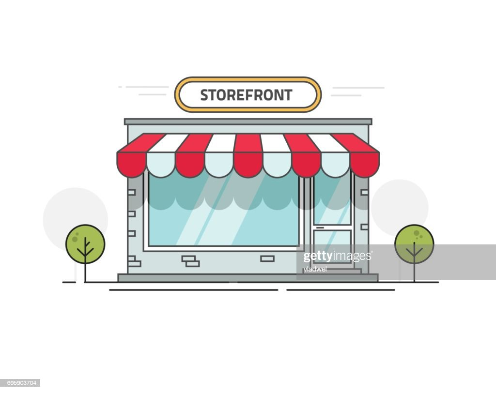 Store or shop front view vector illustration, cartoon line outline storefront on street isolated