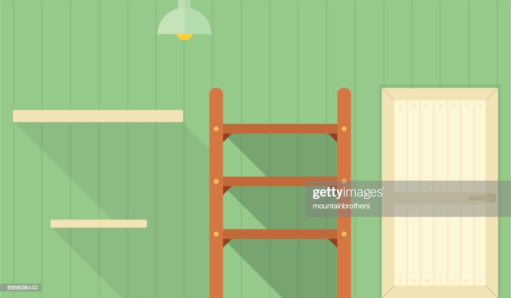 Store room interior flat isolated