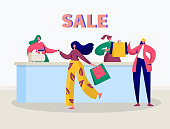Store Sale Purchase Character Banner. Woman Shopping with Discount Card Concept. Offline Fashion Customer Payment. Flat Cartoon Vector Illustration