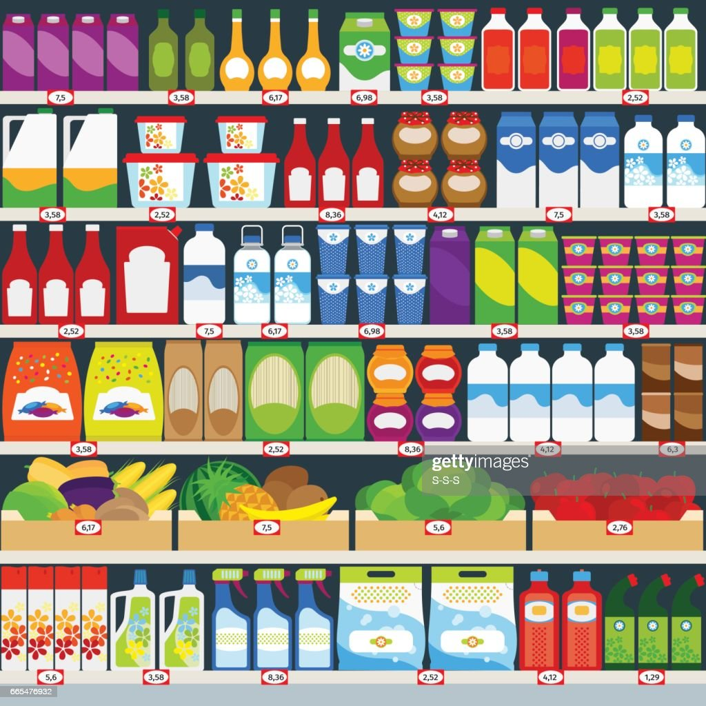 Store shelves with groceries background