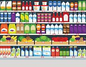 Store shelves with products background