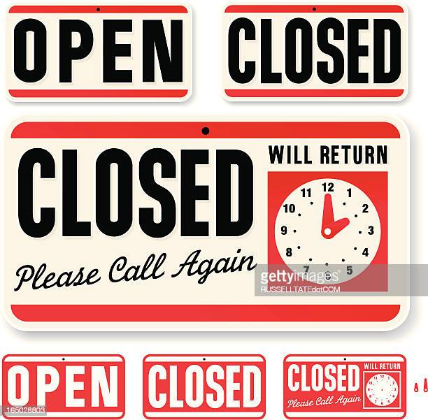 store sign: open closed will return - closed sign stock illustrations, clip art, cartoons, & icons