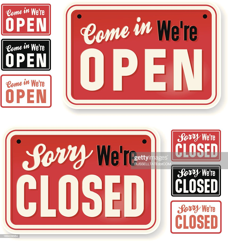 Store Signs: Come in we're Open : stock illustration