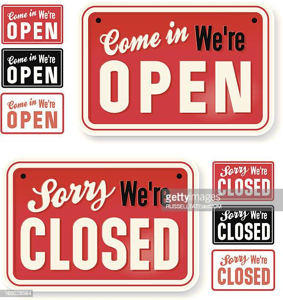 store signs: come in we're open - open stock illustrations