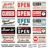 Store Signs: Open Closed + messages