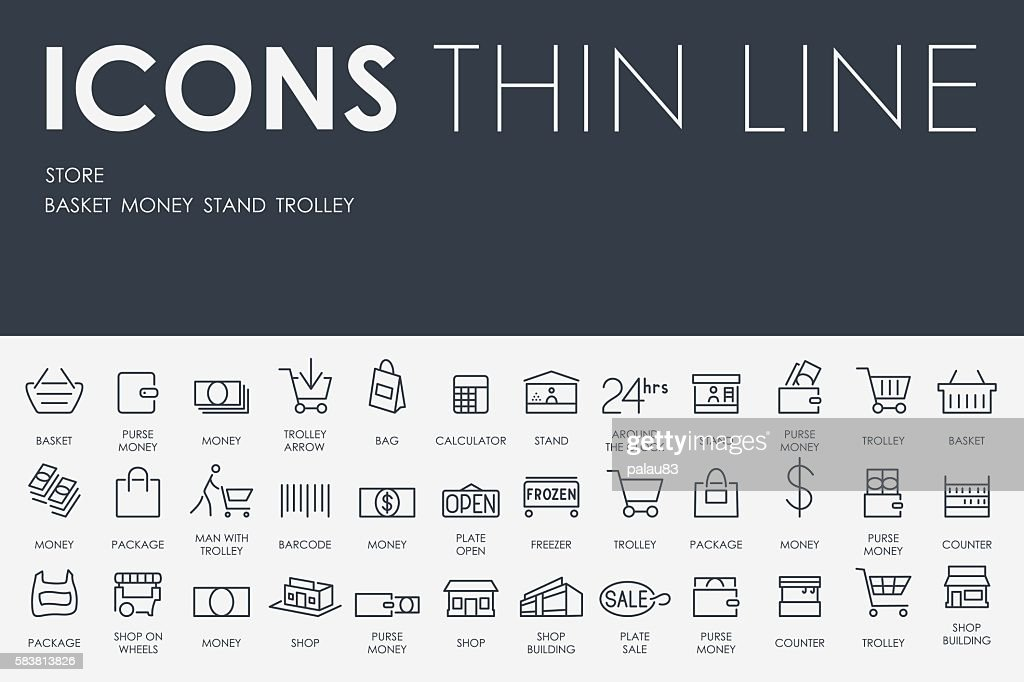 Store Thin Line Icons