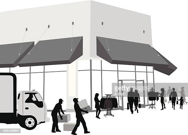 Store Unloading Vector Silhouette