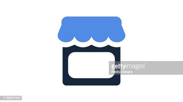 ilustraciones, imágenes clip art, dibujos animados e iconos de stock de escaparate en icono plano - puesto de mercado
