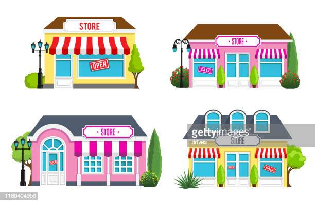 stores front view - store stock illustrations