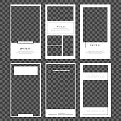 Stories template set. Modern flat stories template, for blog and sales, web online shopping banner concept. Minimalistic geometric trendy sale app screens, ready to use