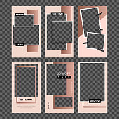 Stories template. Set photo frame. Streaming.