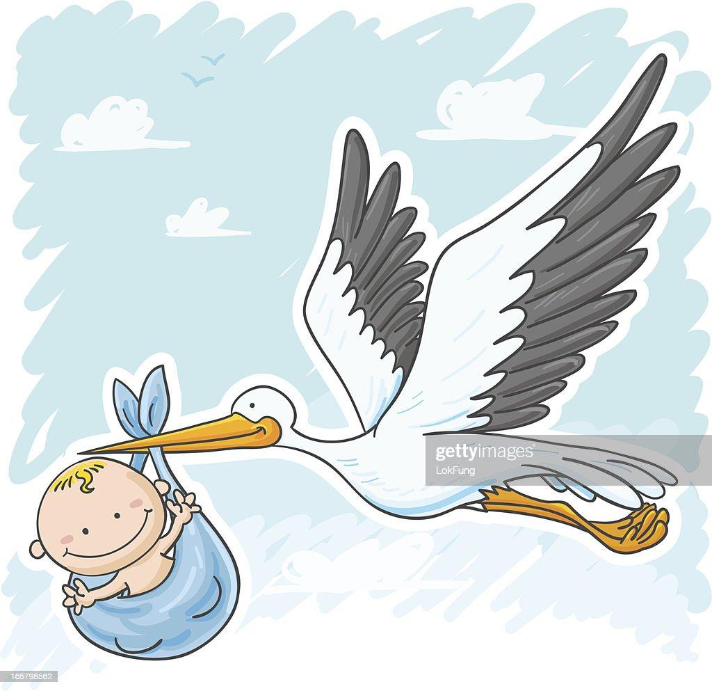 Cigogne Et Bébé cigogne et bébé garçon clipart vectoriel | getty images