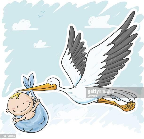ilustraciones, imágenes clip art, dibujos animados e iconos de stock de cigüeña bebé y un niño - baby blanket