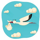 Stork and a baby illustration.