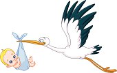 Stork and baby boy