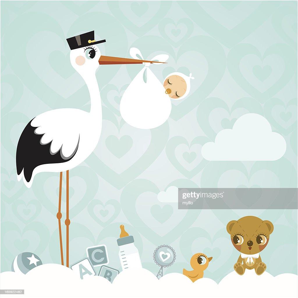 Stork and baby. Newborn babyshower cloud cute invitation : stock illustration