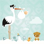 Stork and baby. Newborn babyshower cloud cute invitation