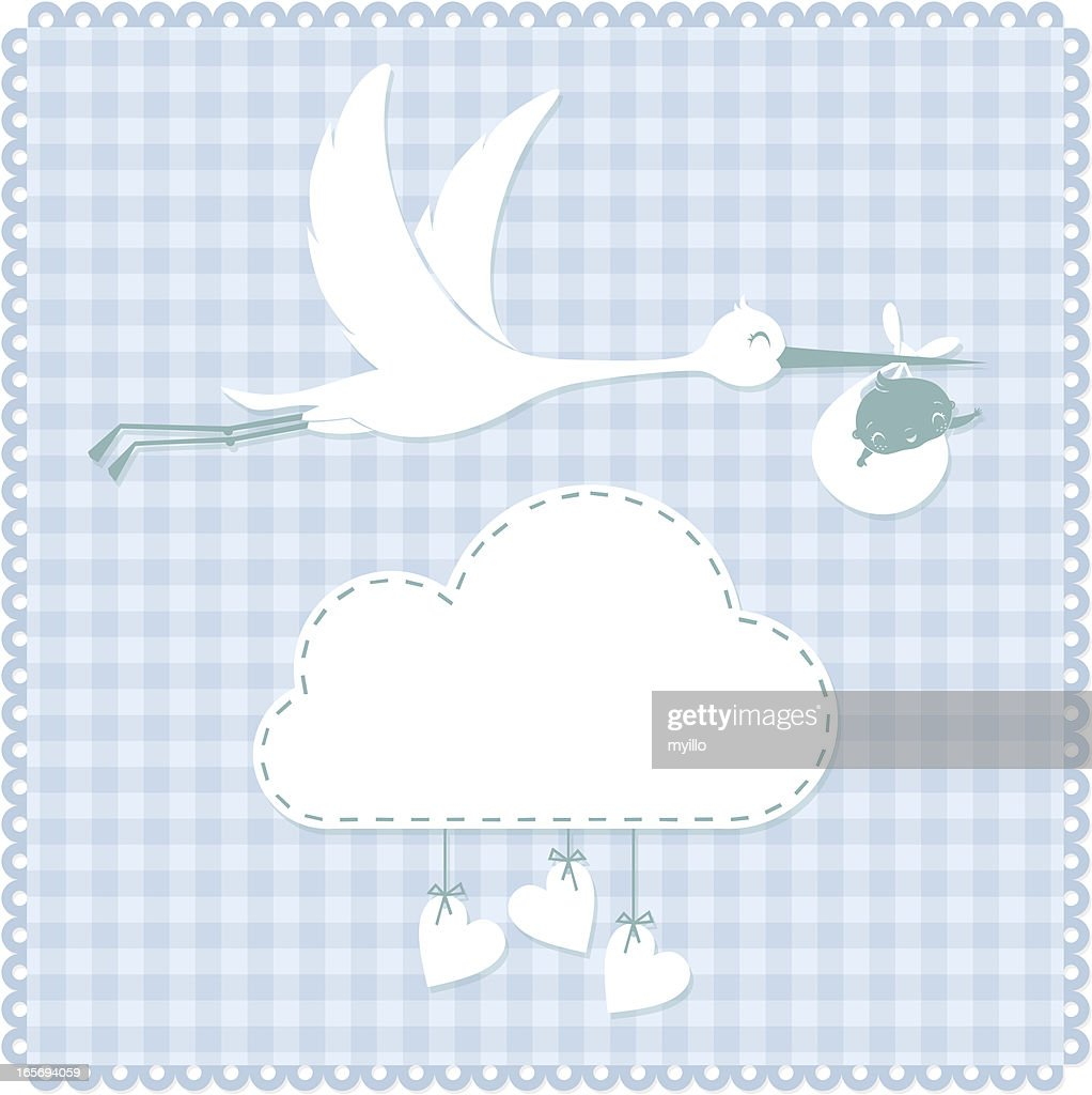 Stork and baby : stock illustration