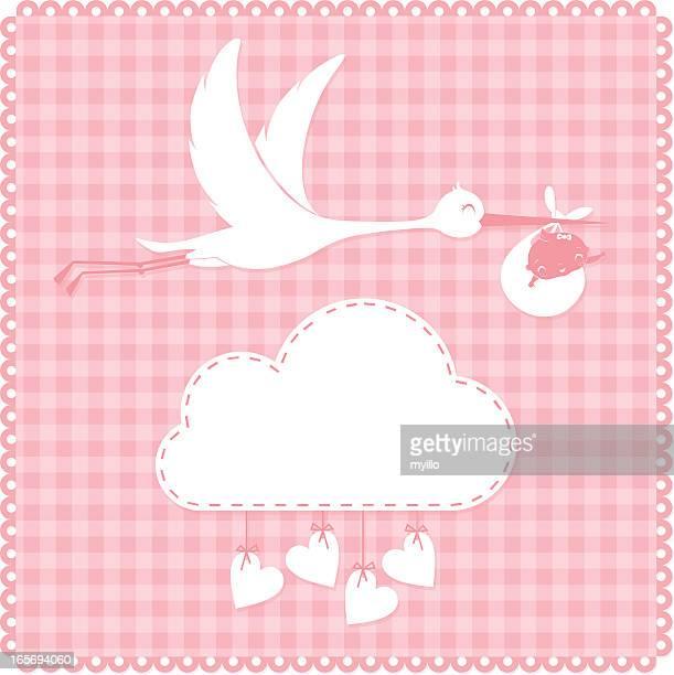 ilustraciones, imágenes clip art, dibujos animados e iconos de stock de cigüeña y bebé - baby blanket