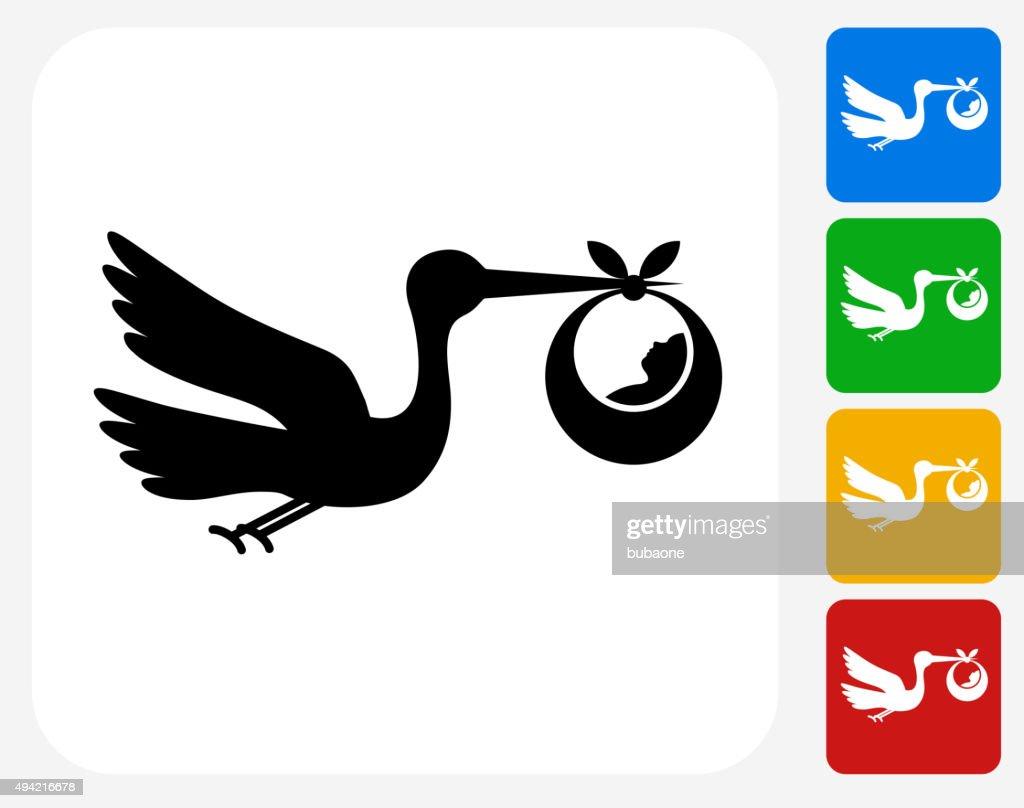 Stork and Newborn Icon Flat Graphic Design : stock illustration