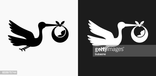 Stork and Newborn Icon on Black and White Vector Backgrounds