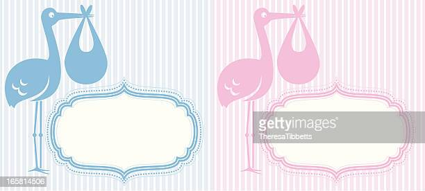 ilustrações de stock, clip art, desenhos animados e ícones de cegonha de anúncio - bebe chegando