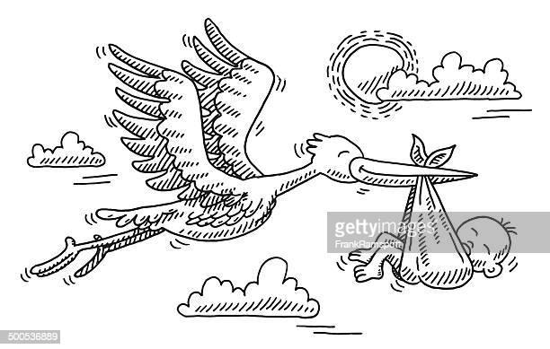 stork bird birthday baby drawing - childbirth stock illustrations