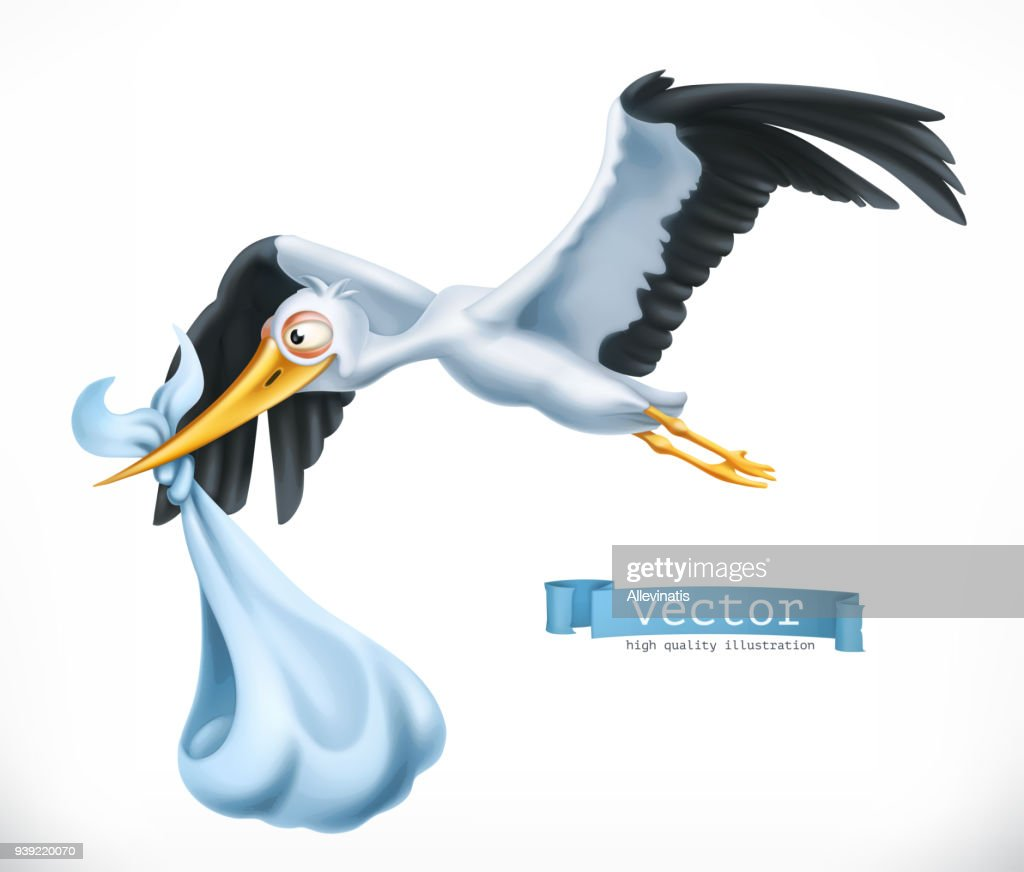 Stork brings a child. 3d vector icon