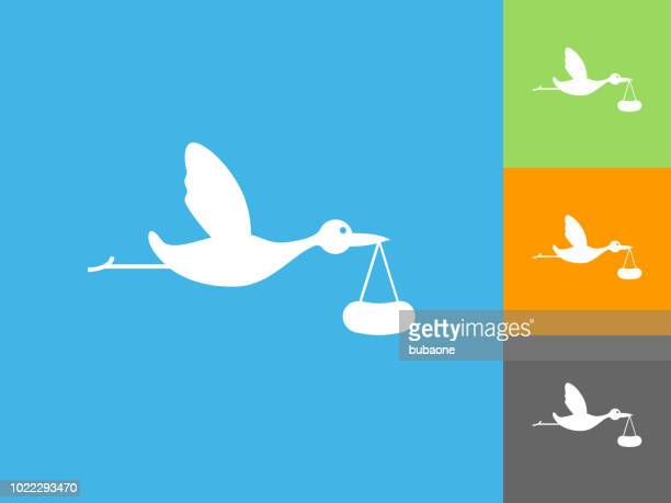 Stork Brings Baby Flat Icon on Blue Background