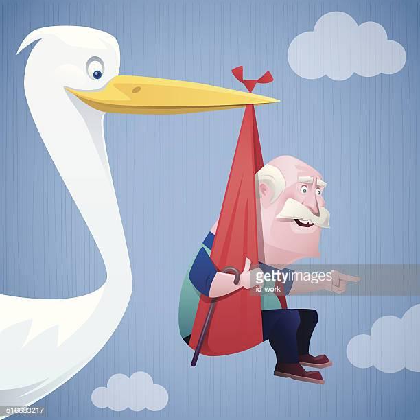 Storch tragen alter Mann