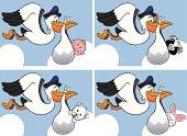 Stork delivering babies