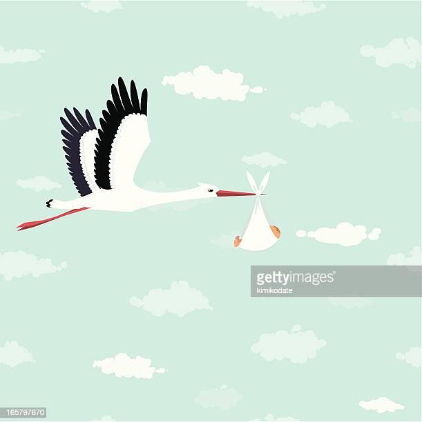 ilustrações de stock, clip art, desenhos animados e ícones de cegonha de colocação - chadebebe
