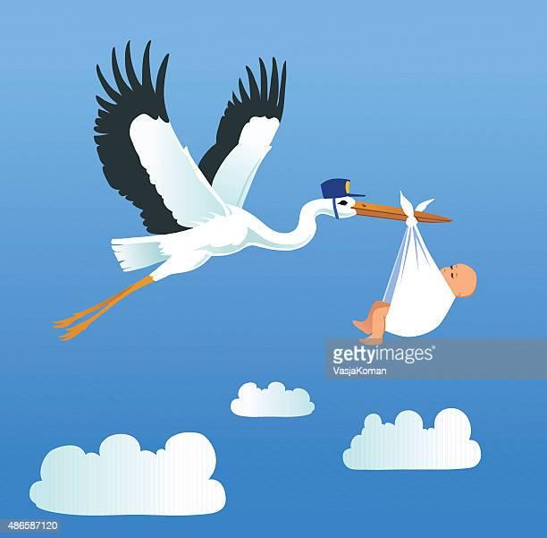 ilustrações de stock, clip art, desenhos animados e ícones de cegonha a voar e transporte pouco de bebé - bebe chegando