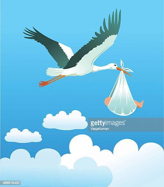 ilustrações de stock, clip art, desenhos animados e ícones de cegonha a voar com o bebé recém-nascido - bebe chegando