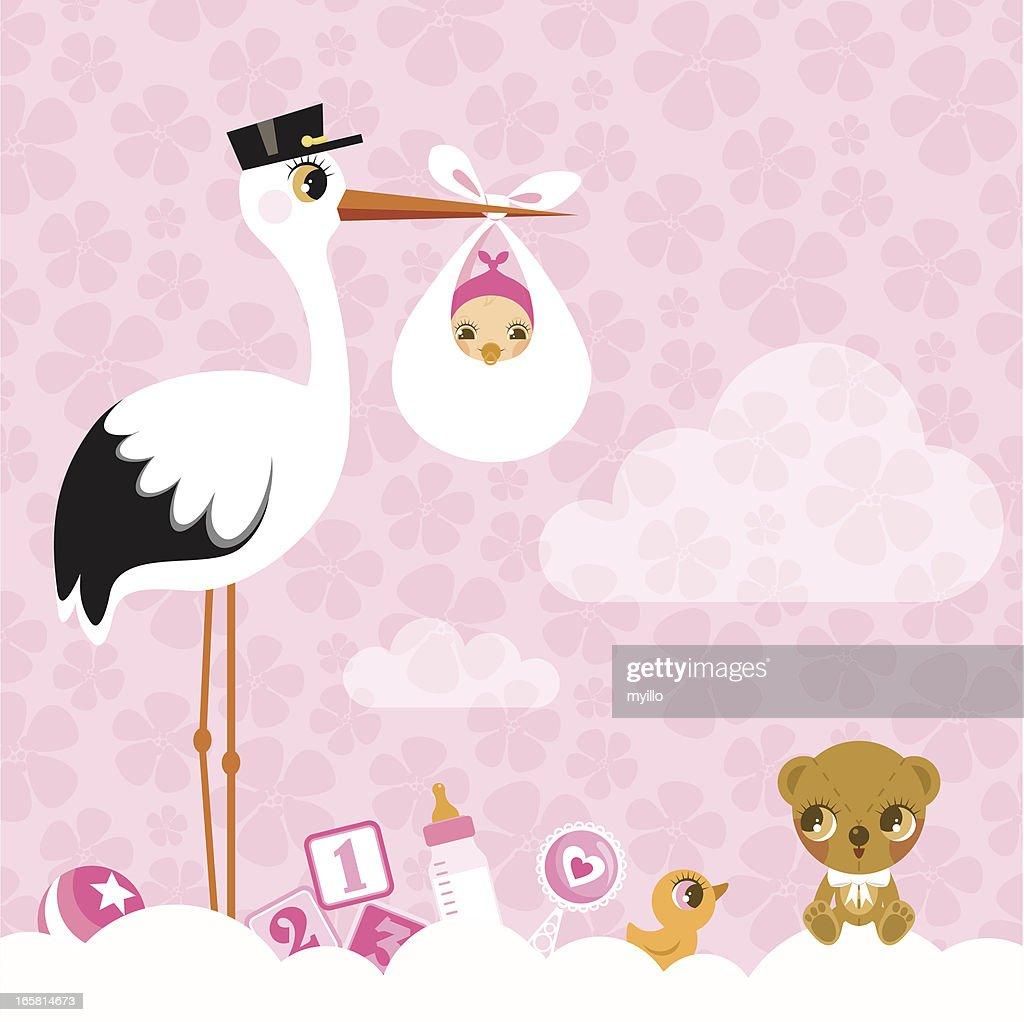 stork for girls. Newborn invitation baby shower pink cute : stock illustration