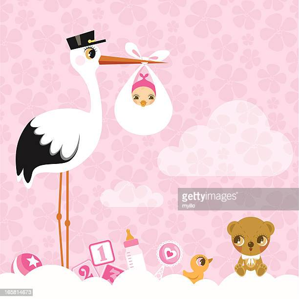stork for girls. Newborn invitation baby shower pink cute