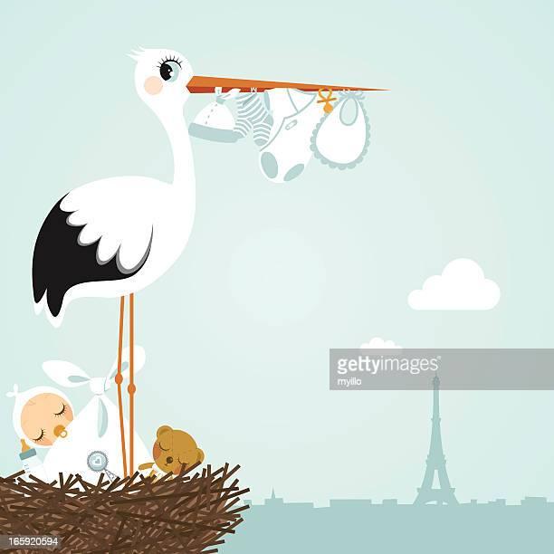ilustraciones, imágenes clip art, dibujos animados e iconos de stock de cigüeña paris recién nacido - baby blanket
