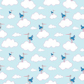 Stork seamless pattern. Vector illustration.