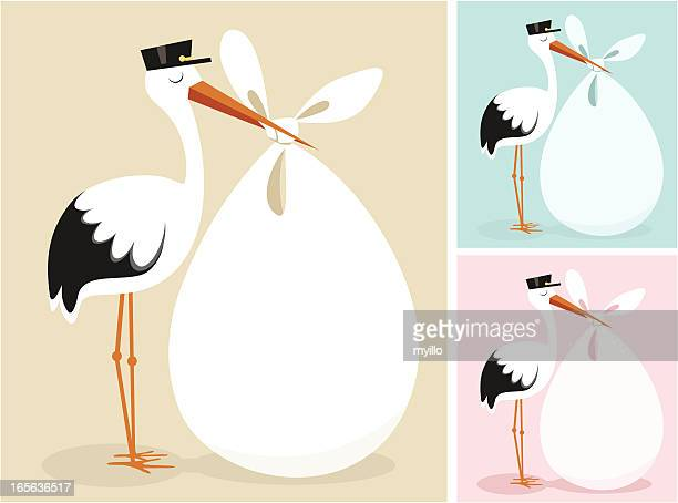 stork - childbirth stock illustrations